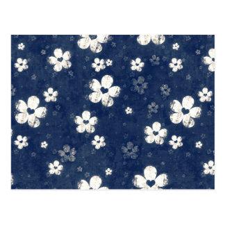 Floral azul descolorada postal