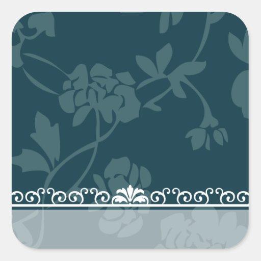 Floral azul pegatina cuadrada