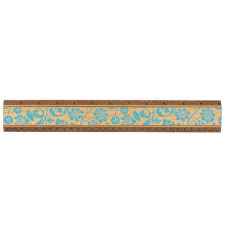 Floral azul reluciente regla de arce