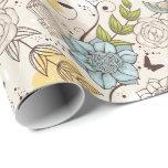 Floral azul retro con el birdcage - papel de
