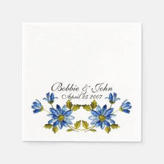 Floral azul servilletas desechables