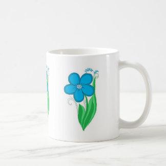 Floral azul tazas