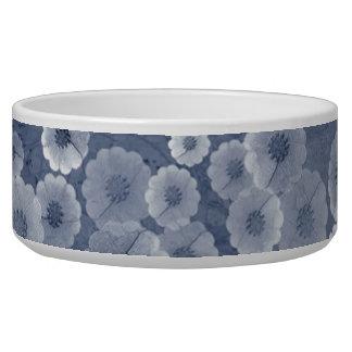 Floral azul y blanco tazones para perrros