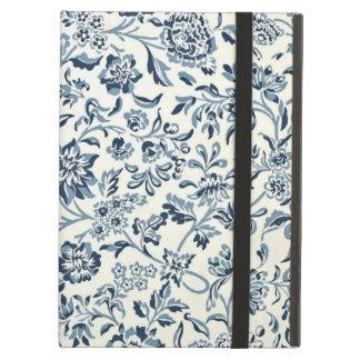 Floral azul y blanco del vintage
