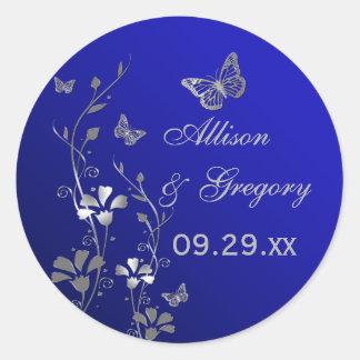 Floral azul y de plata con el pegatina de las