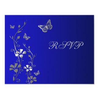 Floral azul y de plata con la tarjeta de invitación