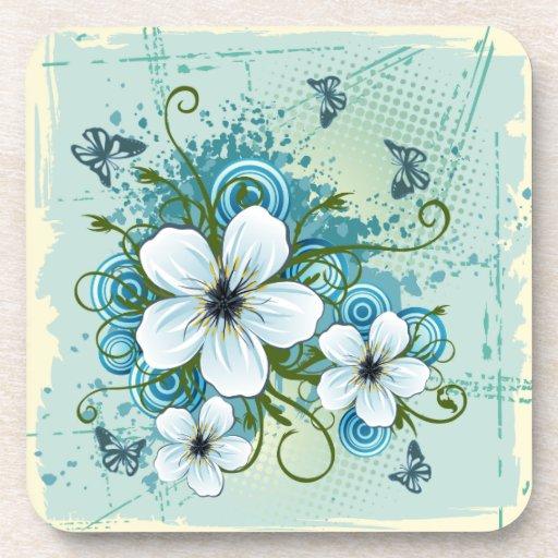 Floral azul y mariposas del verano posavasos