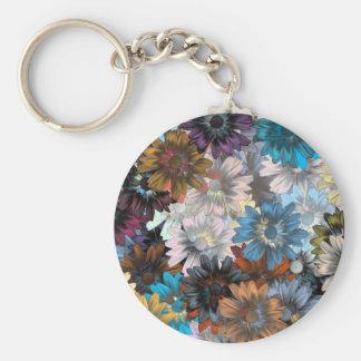Floral azul y marrón llavero redondo tipo pin