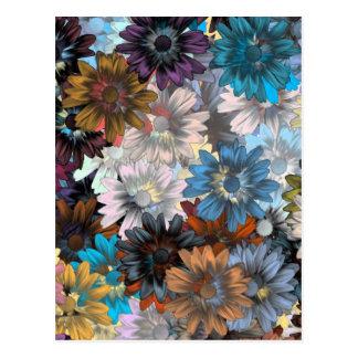 Floral azul y marrón tarjetas postales