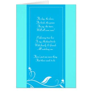 floral azul y verde sea mi tarjeta del bridemaid
