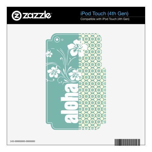 Floral azulverde y poner crema; Hawaiana Skins Para iPod Touch 4G