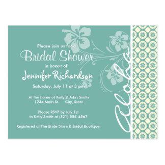 Floral azulverde y poner crema; Hawaiana Postal