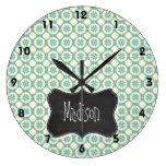 Floral azulverde y poner crema; Pizarra del vintag Reloj