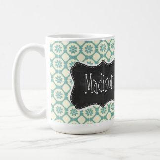 Floral azulverde y poner crema Pizarra del vintag Tazas De Café