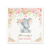 Floral Baby Elephant Birthday Pink Paper Napkin