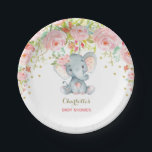 "Floral Baby Elephant Pink Gold Birthday 7&quot; Plate<br><div class=""desc"">Gorgeous elephant theme paper plate featuring feminine pink watercolor roses and faux gold confetti