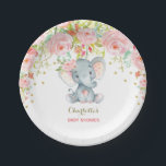 "Floral Baby Elephant Pink Gold Birthday 7"" Plate<br><div class=""desc"">Gorgeous elephant theme paper plate featuring feminine pink watercolor roses and faux gold confetti