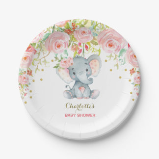"""Floral Baby Elephant Pink Gold Birthday 7"""" Plate"""