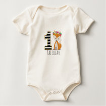 Floral Baby Fox Stripes First Birthday Shirt