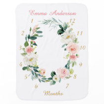 Floral Baby Girl Monthly Milestone Baby Blanket