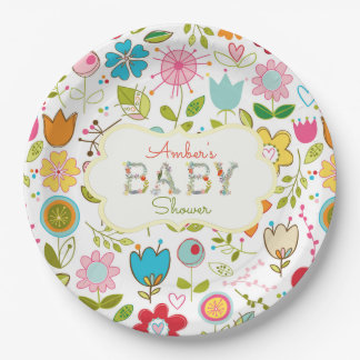 Floral Baby Letters Gender Neutral Paper Plate