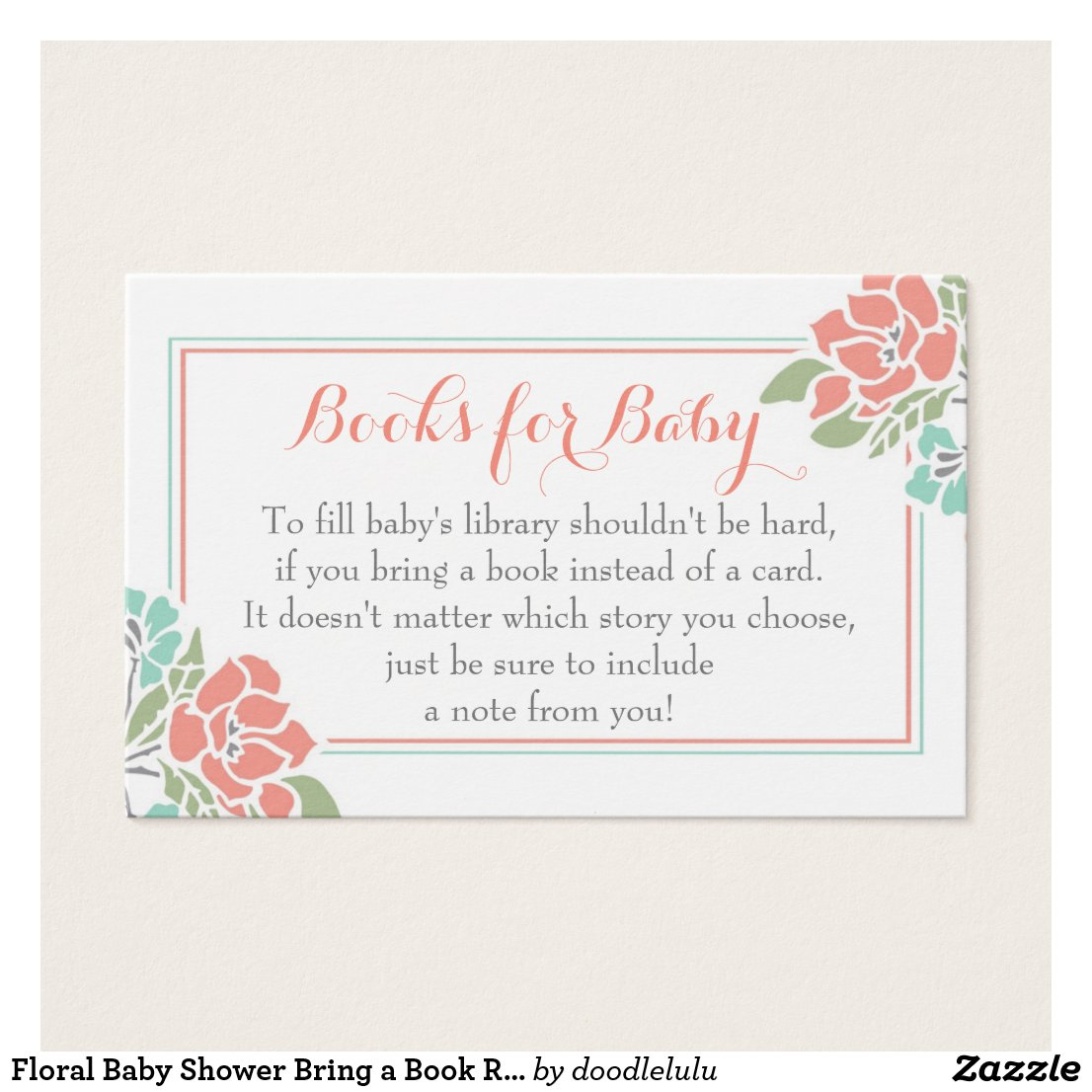 Floral Baby Shower Bring a Book Request