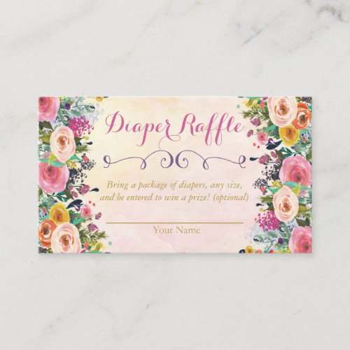 Floral Baby Shower Diaper Raffle Card