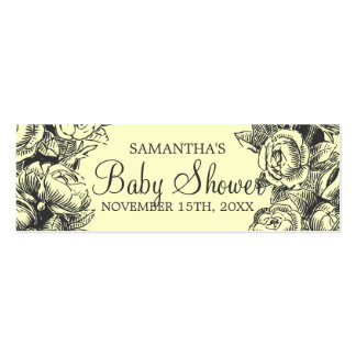 Floral Baby Shower Favor Tag Vintage Roses Black Double-Sided Mini Business Cards (Pack Of 20)
