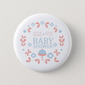 Floral Baby Shower Invitation Design Template Button
