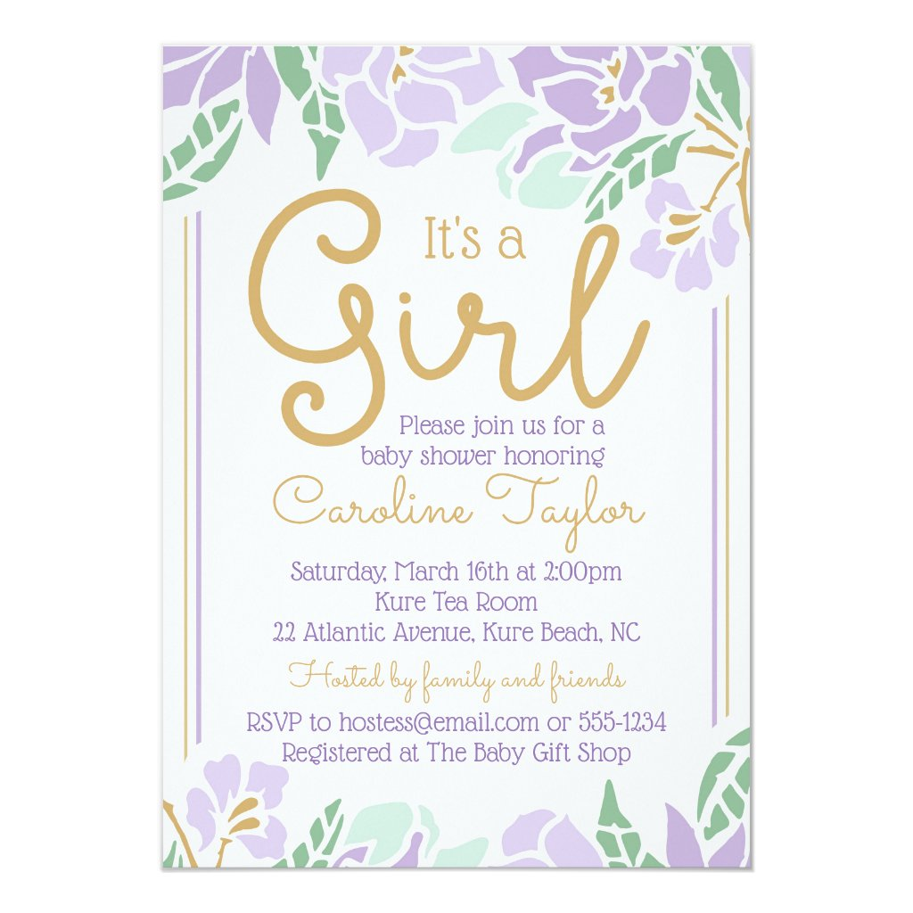 Floral Baby Shower Invitation purple and gold