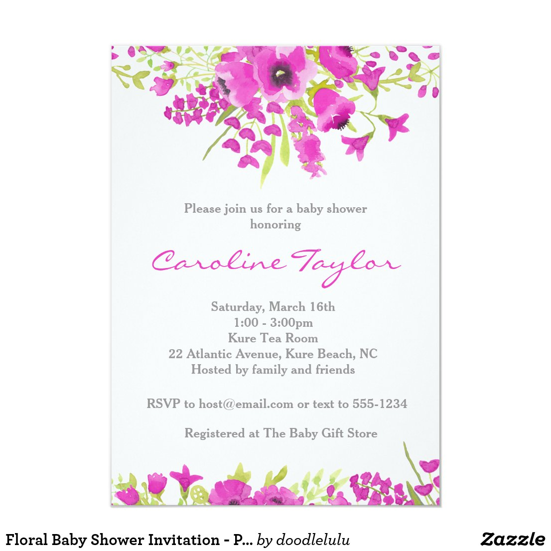Floral Baby Shower Invitation - Purple Watercolor