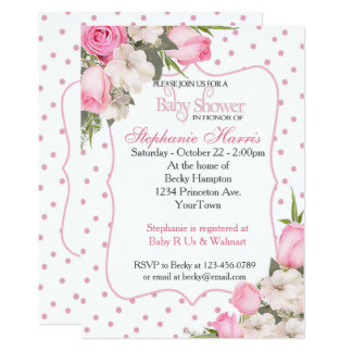 Floral Baby Shower Invitation with Pink Roses