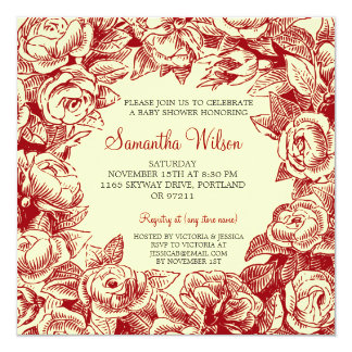 "Floral Baby Shower Vintage Roses Red 5.25"" Square Invitation Card"