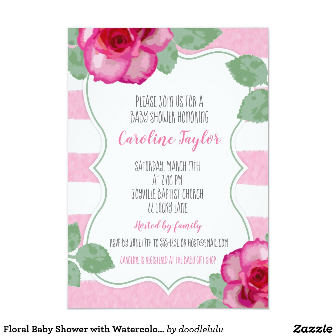 Floral Baby Shower with Watercolor Pink Roses Invitation