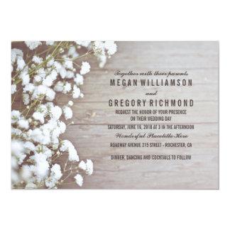 Floral  Babyu0026#39;s Breath Rustic Summer Simple Wedding Card