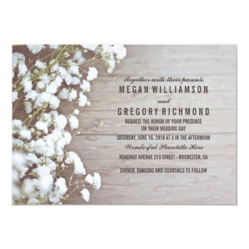 Floral- Baby's Breath Rustic Summer Simple Wedding Card by jinaiji at Zazzle