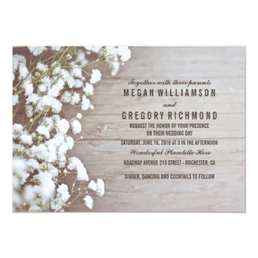 Toddler & Baby themed Floral- Baby's Breath Rustic Summer Simple Wedding Card