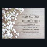 """Floral- Baby&#39;s Breath Rustic Summer Simple Wedding Invitation<br><div class=""""desc"""">The baby&#39;s breath flowers wedding invitation with the rustic barn wood background texture. Elegant,  rustic and vintage - this is the perfect invitation for your lovely wedding. -- All design elements created by Jinaiji.</div>"""