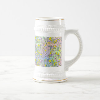 Floral Background from The Fairy Nekos of Spring D Beer Stein