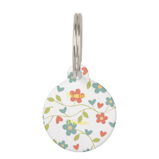 floral background pet name tag