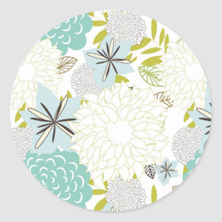Floral background round stickers