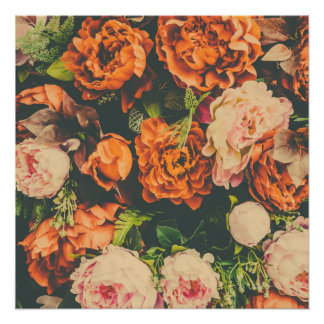 Floral Background with Orange Pink Flowers Poster