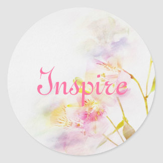 floral background with watercolor flowers classic round sticker