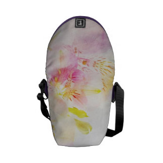floral background with watercolor flowers messenger bag