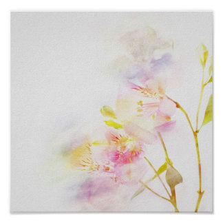 floral background with watercolor flowers poster