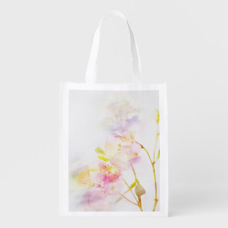 floral background with watercolor flowers reusable grocery bag