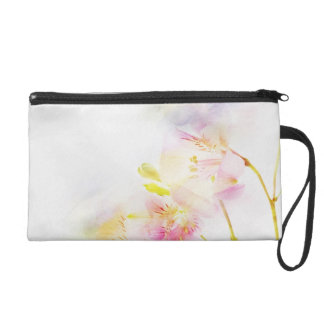 floral background with watercolor flowers wristlet