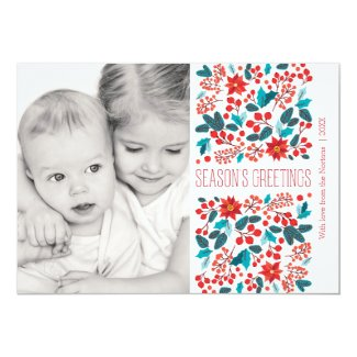 Floral Banner Holiday Photo Card