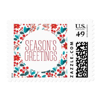 Floral Banner Holiday Postage