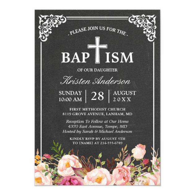 Floral Baptism | Elegant Vintage Chalkboard Frame Card